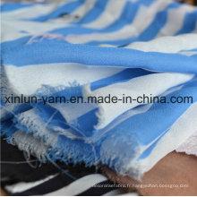 Tissu en chiffon crêpe bleu et blanc à rayures