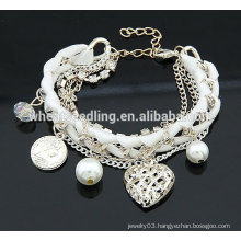 2014 Fashion Alloy Multilayers Bracelet Heart Shape Bracelets Pearl bracelet jewelry