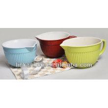 KC-04017 gran plato sólido con mango / tazón de porcelana / tazón de arroz