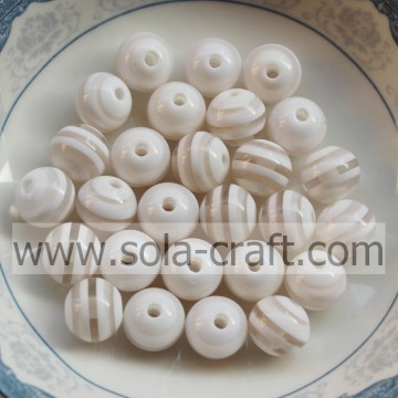 8MM 500Pcs Zebra White,Acrylic, Plastic, Lucite Loose Resin Beads Material Fashion Jewelry Resin Beads