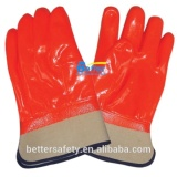 Cotton Foam Warm Lined Fluorescence Orange Color Safety Cuff PVC Anti Acid-base Rigger Gloves