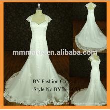 Saudi arabische Hochzeitskleid-Kappenhülsen-Spitzeordnung-Brauthochzeits-Parteikleid