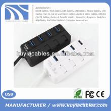 Mini 4 puertos USB3.0 Hub Soporte 5 Gb / s Solo encendido / apagado Compatible con USB3.0 / USB2.0 / 1.1