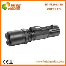 Fuente de la fábrica Negro de aluminio Dimmable al aire libre Tactical 3w de alta potencia cree llevó linterna de láser de enfoque antorcha con clip