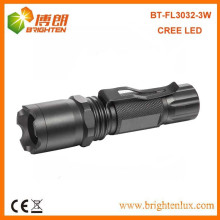 Factory Supply Black Aluminium Dimmable Outdoor Tactical 3w High Power cree led Focus Laser Flashlight Torch with Clip