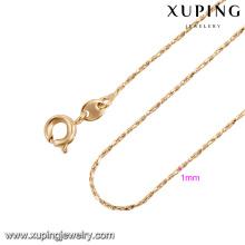 43844 xuping vente chaude pas cher simple chaîne en or collier mode bijoux en plaqué or collier