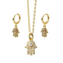 2020 Dainty Micro Paved Cubic Zirconia Hamsa Hoop Earrings Pendant Necklace Jewelry Set For Women