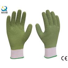13G полиэфирная оболочка, латексные покрытые рабочие перчатки, отделка волной