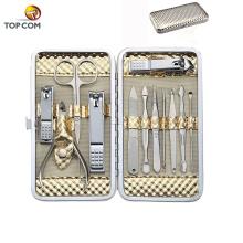 Маникюрные наборы Наборы для стрижки ногтей из 12 штук золотых педикюрных инструментов из нержавеющей стали для путешествий