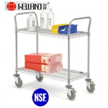 NSF Adjustable Chrome Metal Service Trolley for Hospital