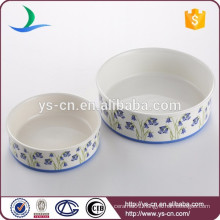 Wholesale ceramic pet product of dog with blue flower decal