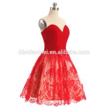 2017 alibaba vestido de noche de encaje de color rojo último off hombro mini cremallera corta diseño vestido de noche corto