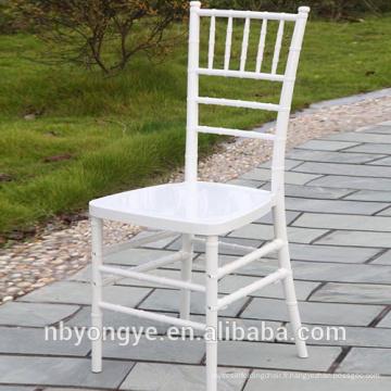 Résine en plastique brillant Chiavari tiffany chaise blanche en acier