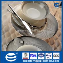 Super branco porselen yemek utensílios de mesa para 6 kisilik com decoração mágica metalic