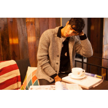 Acrylic Mohair Wool Knit Men Cardigan with Button