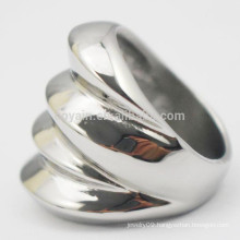 New Design 2015 Artificial Jewelry Stainless Steel Silver Women Wave Ring