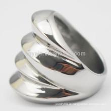 Novo Design 2015 Artificial Jóias de Aço Inoxidável Mulheres Prata Wave Ring