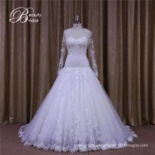 Vestido de novia hecho a medida de novia con mangas largas