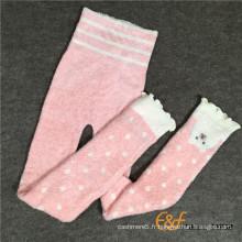 Plume fil enfants mignon motif bon élastique tricoté pantalons longs