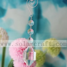 Popular Christmas Decoration Oblong Faceted Cut Diamond Prism With Clasp Hook For Restaurant Lamp Ornaments