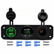 Car 12V 2 USB Cigarette Lighter Sockets Adapter Charger with Digital Voltmeter