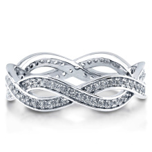 Sterling Silver with Zirconia Woven Eternity Ring 925 Silver Jewelry