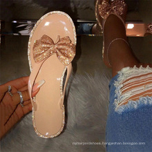 2021 summer hot sale  flip flop jelly slippers with rhinestone bow for women lady flat jelly sandals