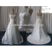 Satin Brautkleid Halter wulst ein Hochzeitskleid Kleid