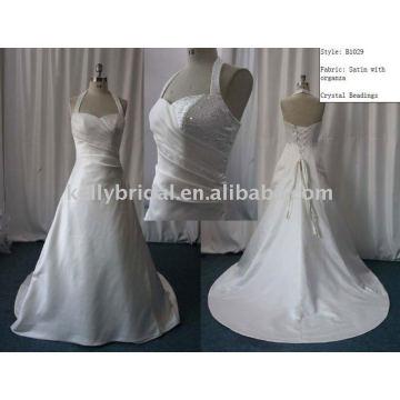 Vestido de noiva de cetim Halter Beaded A Lot vestido de noiva