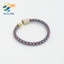 Cadmium free standard PU colorful braided women bracelet
