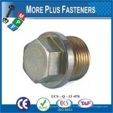 Fabriqué en Taiwan DIN 910 Vis à tête hexagonale Bouchon de vidange A4 Acier inoxydable et acier au carbone Zingué