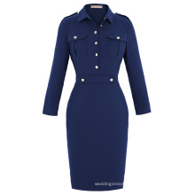 Kate Kasin Retro Vintage Long Sleeve Navy Style Hips-Wrapped Bodycon Pencil Dress KK000226-1