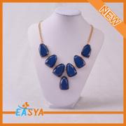Pierre bleue nouveau strass collier Bijoux de mode
