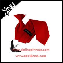 Garçons tissés par polyester en gros bon marché Cravates d'attaches d'école pour le clip sur des cravates
