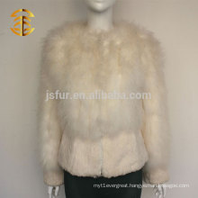 2015 European Fashion Ladies Fluffy Turkey Feather and Real Rabbit Fur Jacket Style Coat