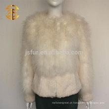 2015 Europeu Moda Senhoras Fluffy Turquia Feather e Real Rabbit Fur Jacket Style Coat