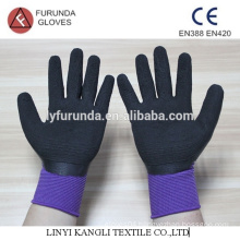 Foam latex palm coated polyester gloves,13 gauge latex work gloves
