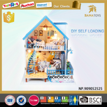Presente de Natal brinquedo diy casa de boneca de madeira