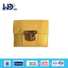 Portefeuille de dames en cuir souple jaune citron