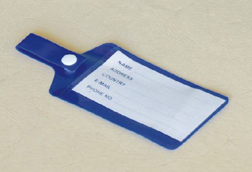 blue pvc Luggage Tag