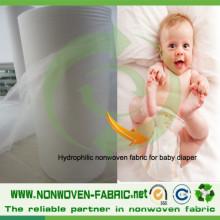 Tela no tejida hidrófila de los PP para el pañal del bebé