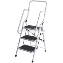 3 Step Stool with Tool Tray Step Ladder with Soft Handgrip Anti-slip Widen Pedals Safe Metal Lock Design Sturdy Steel Ladder