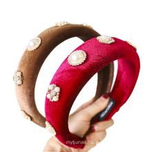 Bandeau cheveux tali rambut Velvet Rhinestone Pearl Wide Headband Solid Sponge Autumn Winter Hairband for Women Girl Korean Luxury
