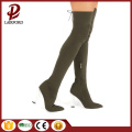 armygreen chunky heel over knee ladies boots