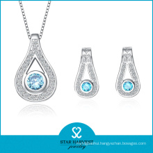 Luxury Aquamarine 925 Sterling Silver Jewelry Set for Ladies (J-0147)