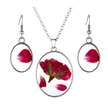 Environmental Alloy Pressed Dried Flower Sweater Real Rose Pendant Necklace
