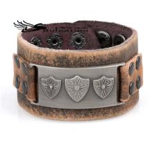Pulseras de cuero para los hombres clásicos del diseño nuevo 2014, precio de las pulseras del cuero del estilo del rosario al por mayor