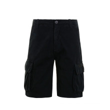 Pantalones cortos cargo de algodón negro hasta la rodilla de estilo de moda