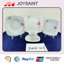 Conjuntos de jantar quadrados de venda quente do decalque da porcelana