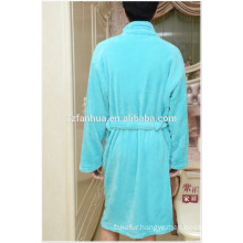 Long Sleeve Knee Length Coral fleece bathrobe for Mens